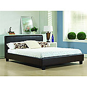"""Brown Real Leather Low End Bed Frame - Double 4ft 6"""""""