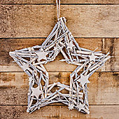 White-washed Wood & Twig Star Shaped 44cm Christmas Wreath