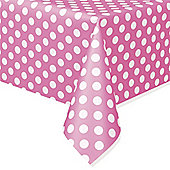 Pink Polka Dot Plastic Tablecover - 1.4m x 2.8m