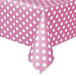 Pink Polka Dot Plastic Tablecover - 1.4m x 2.8m