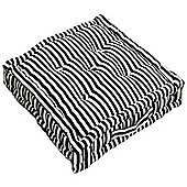 Homescapes Cotton Black Thin Stripe Floor Cushion, 50 x 50 cm