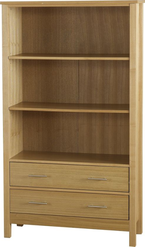 Home Essence Alexander Two Drawer High Bookcase in Natural Oak Veneer
