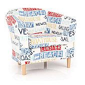 Ultimum Lifestyle Coast Tub Chair - Seaside Fabric Design