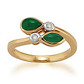 Gemondo Gold Plated Sterling Silver 0.75ct Green Chalcedony & 5pt Diamond Ring