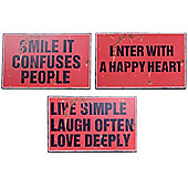 Set of Three Red Rustic Metal Motivational Quote Message Signs