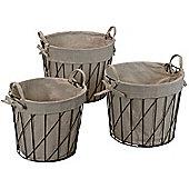 Alterton Furniture 3 Piece Round Wire Basket Set *