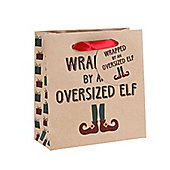 Wrapped By An Over Sized Elf Christmas Gift Bag