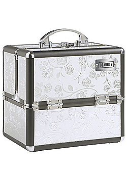 Beautify Small Silver Rose Print Beauty Cosmetics Make Up Case