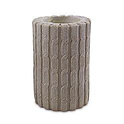 Grey Resin Knitted Effect Design Pillar Tealight Candle Holder
