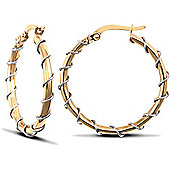 9ct Yellow and White Gold Hoops - 25.7mm