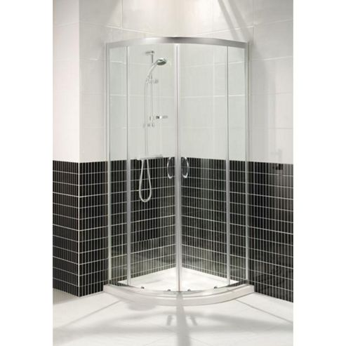 Balterley 800 mm x 800 mm Semi-Frameless Quadrant 6 mm Glass Shower Enclosure with Low-profile Tray