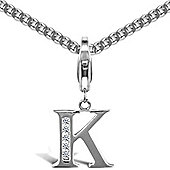 Jewelco London Silver Cubic Zirconia - Identity Initial - Charm or Pendant with Hook - Letter K