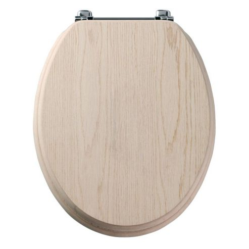 Tavistock Premier LIMED OAK Wood Veneer Toilet Seat with Bar Hinges and Non-slip Buffers
