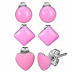 Urban Male Set of Three Stainless Steel & Pink Resin Shaped Stud Earrings