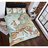 Rapport Urban Unique Vintage Maps Quilt Set King