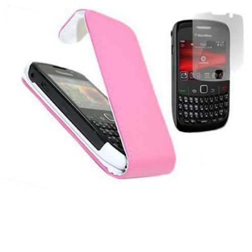 PINK FlipMatic Easy Clip On Vertical Pouch Case with Screen Protector - Blackberry 8520 Curve, 9300 Curve 3G