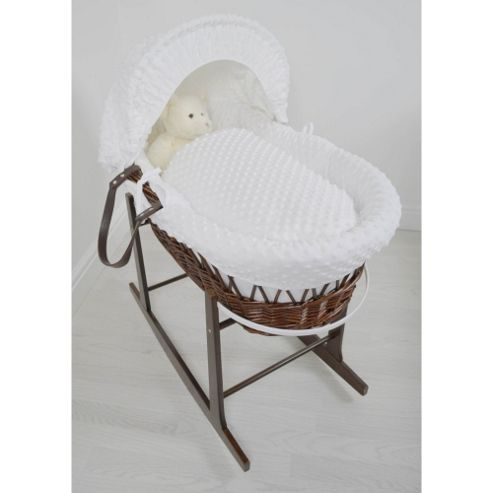 Cuddles Collection Dark Wicker Moses Basket (Dimple White)
