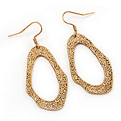 Gold Plated Textured Oval Drop Earrings - 5.5cm Length
