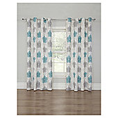 Floral Printed Lined Eyelet Curtains - Duck Egg - 66 X 72