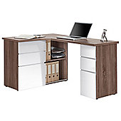 Maja Oxford Oak and White Corner Desk