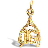 Jewelco London 9ct Solid Gold 16 wishbone Pendant,a perfect gift for that special milestone birthday!