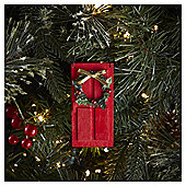 Red Door with Wreath Christmas Tree Decoration