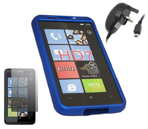 iTALKonline LCD Screen Protector, Mains Charger and SnapGuard Case Blue - For HTC HD 7