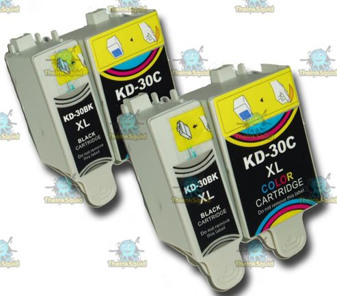 2 Sets of Kodak 30 XL (30B + 30CL) Compatible Ink Cartridges for ESP & Hero Printers