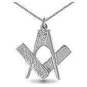 Jewelco London Sterling Silver Scissor pendant Masonic Pendant - 18 inch Chain