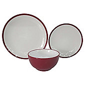 Tesco Two Tone 12 Piece, 4 Person Dinner Set, Red