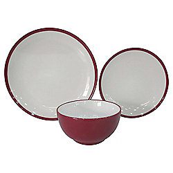 Tesco Two Tone Stoneware 12 Piece, 4 Person Dinner Set, Red