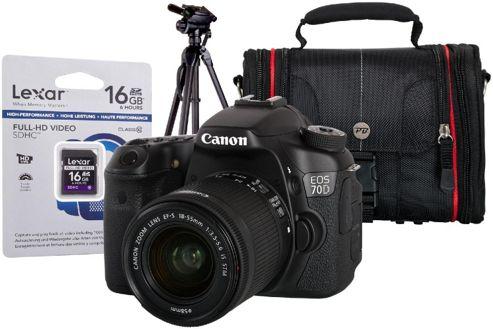 Canon EOS 70D Black SLR Kit inc EF-S 18-55mm, Tripod, 16GB Class 10 SD & Case
