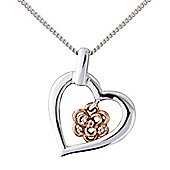 Silver & 9ct Rose Gold Cubic Zirconia Pendant with Chain