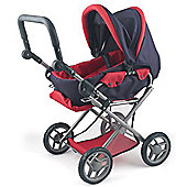 Dolls World 4 Wheel Pram And Carrier Red And Black