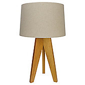 Tripod Wood Table Lamp Natural/Linen Shade