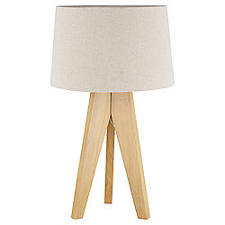 Tesco Tripod Table Lamp, Light Natural/Linen Shade