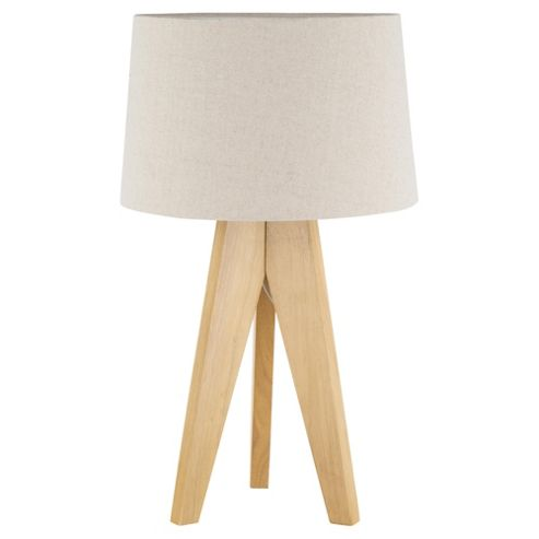 buy tesco tripod table lamp light natural linen shade from our table lamps r. Black Bedroom Furniture Sets. Home Design Ideas
