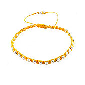 Silver Yellow 1 Row Friendship Bracelet 8-28-5321
