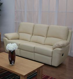 Furniture Link Monzano Three Fixed Seat Sofa in Ivory - Ivory