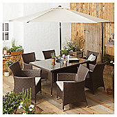 Rattan Rectangular Garden Dining Set, Brown, 8 piece