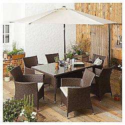 Rattan Rectangular Garden Dining Set, Brown, 8 piece