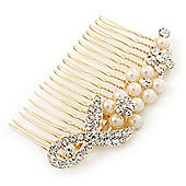 Bridal/ Wedding/ Prom/ Party Gold Plated Clear Austrian Crystal, Pearl Floral Hair Comb - 85mm