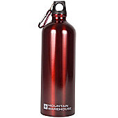 1L Metallic Drinking Drinks Water Bottle Flask + Carabiner