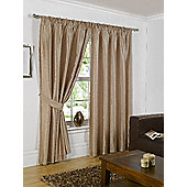 Faux Silk Eyelet Curtains - Latte