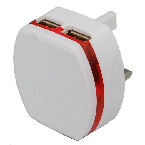 Dual USB At Home LED Compact Charger (White) For LG Optimus L7