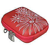 Rivacase Riva 7023 PU Digital Camera Case, Red/Flowers