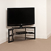 Techlink Skala Corner TV Stand - Satin Black and Smoked Glass
