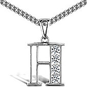 Jewelco London Sterling Silver Cubic Zirconia Identity Pendant - Initial H - 18inch Chain