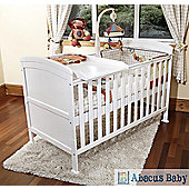 Penelope Cot Bed-Safety Sprung Mattress-Cot Top Changer & Under Drawer - White