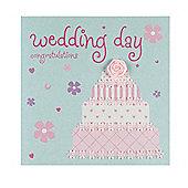 Satin Rose Wedding Cake Congratulations Card